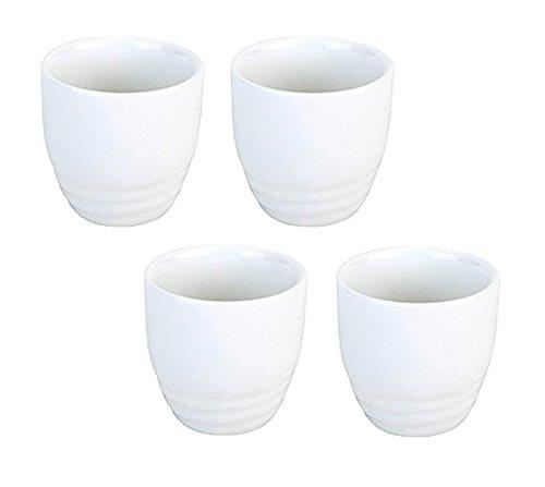 Happy Sales HSSCP-WHT4 Set of 4 White Porcelain Sake cups 15 oz