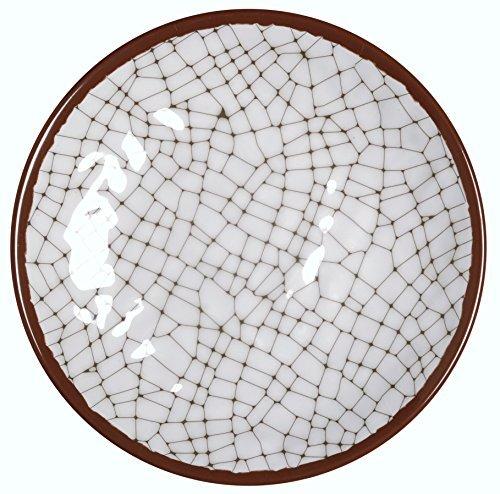 Melange 6-Piece 100 Melamine Dinner Plate Set Hammered Checks Collection   Shatter-Proof and Chip-Resistant Melamine Dinner Plates  Color Cement