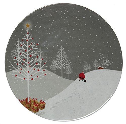 Melange 6-Piece 100 Melamine Dinner Plate Set Santa Comes Home Collection   Shatter-Proof and Chip-Resistant Melamine Dinner Plates