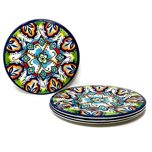 Spanish Tile Design Melamine Dinner Plates - Set of 4 Dinner Plate 105 in