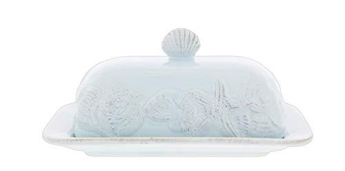 Blue Sky Ceramic Sea Shells Butter Dish Blue
