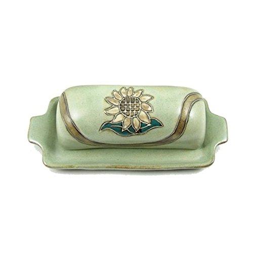 Mara Ceramic Stoneware Sunflowers Butter Dish with Lid
