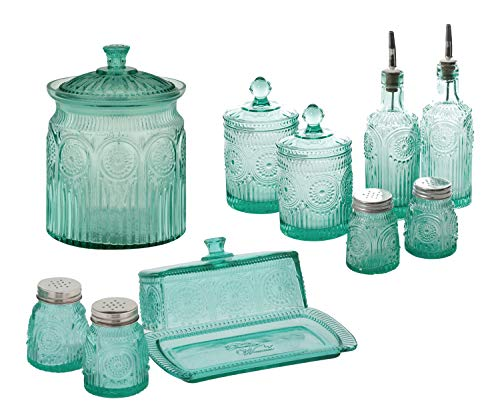 Adeline 6-Piece Condiment Set bundle with Cookie Jar Turquoise and Glass Butter Dish with Salt and Pepper Shaker Set - Kitchen Storage Spice Jars and Glass Containers Set 10 Items