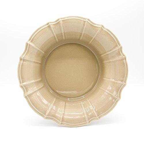 Euro Ceramica Chloe Collection Elegant 118 Ruffled Ceramic Serving Bowl Taupe
