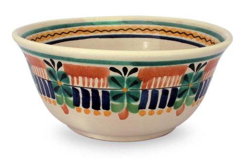 NOVICA Multicolor Decorative Ceramic Serving Bowl Acapulco