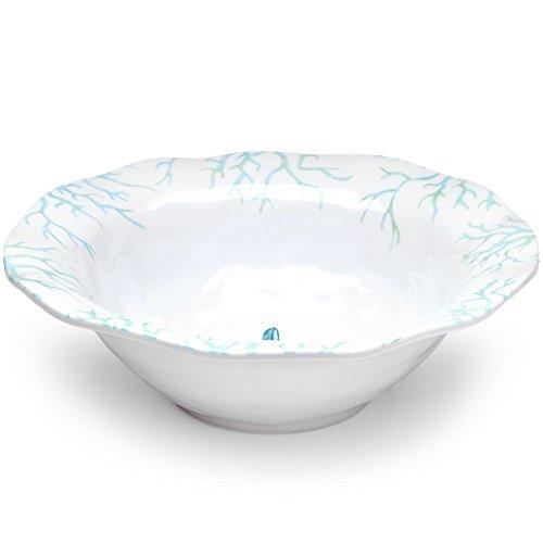 Q Squared Captiva BPA-Free Melamine Serving Bowl 12-Inches White Blue