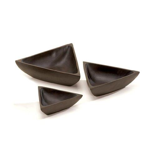 Triangular Acacia Wood Serving Bowls Set of Three