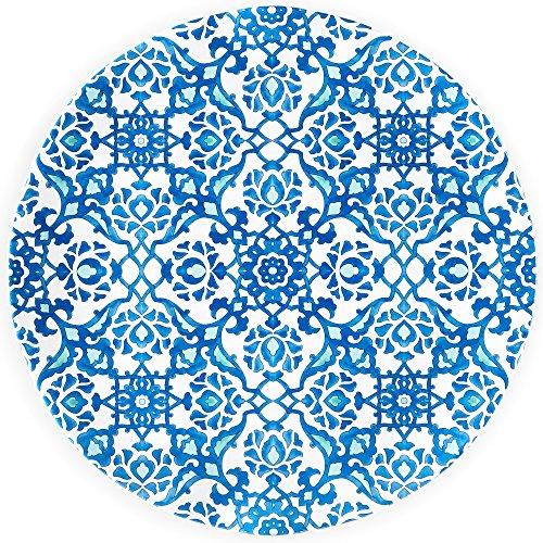 Q Squared Royal Lapis Melamine Platter 16-Inches Blue and White