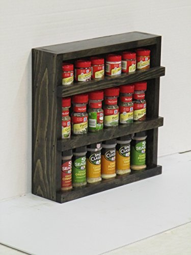 Wood wooden Spice RackCounter Top or Wall Mount Spice Cabinet Solid Pine - Black Stain - Rustic- Handmade in USA by Buffalo Wood Shop