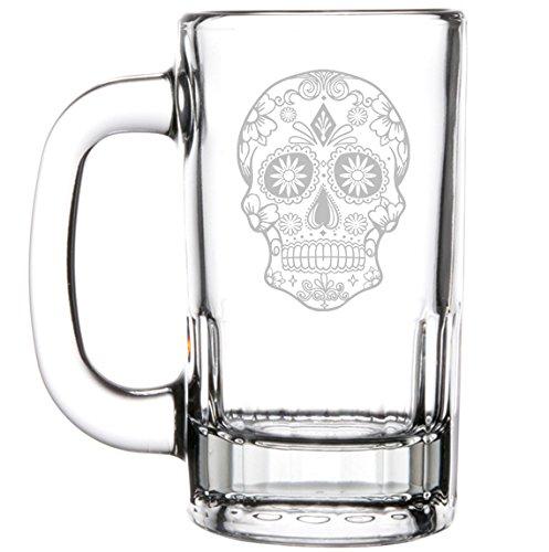 12oz Beer Mug Stein Glass Sugar Candy Skull