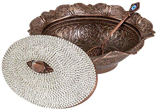 Swarovski Crystal Coated Handmade Brass Sugar Chocolate Candy Bowl Serving Dish New - Antique Brown