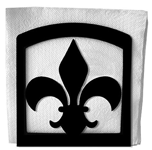 Iron Fleur-De-Lis Table Napkin Holder - Heavy Duty Metal Serviette Dispenser Cocktail Napkin Holder