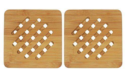 Bamboo Trivet Bambri Kitchen Bamboo Hot Pads Trivet Heat Resistant Pads Teapot Trivet SquarePack of 2