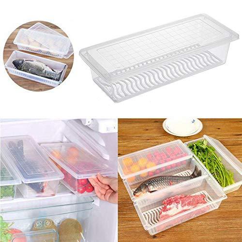 Umiwe Freezer Storage Container Keep Fresh FridgeRefrigerator Storage Bin Box with Lid Pull Handle Stackable Food Organizer Keeper for Dumplings Vegetables Meat Fish BPA-Free PP