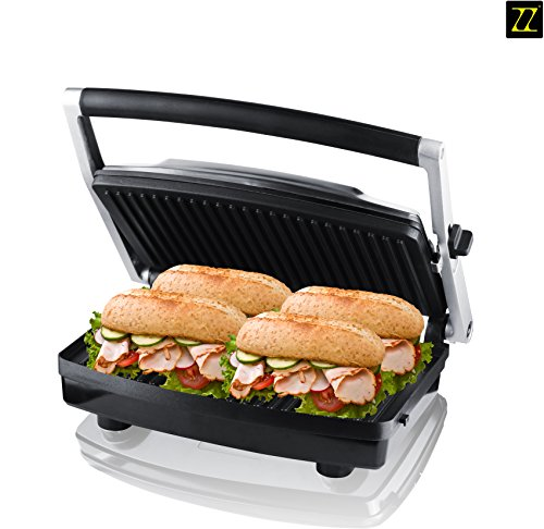 Zz Sm303 Gourmet Health Contact Grill Panini Press And Buger Maker With Large Cooking Surface, Silver