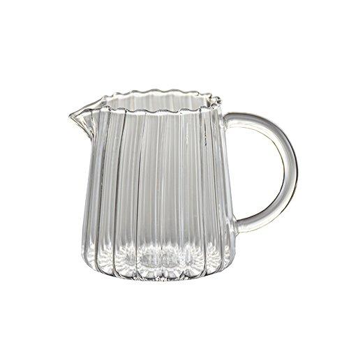 CHOOLD Elegant Wave Shaped Crystal Glass Creamer Coffee Milk Creamer PitcherServing PitcherSauce PitcherMilk Creamer Jug for Kitchen 15oz