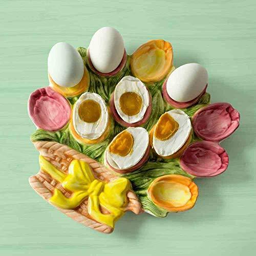 CWJ Home Decoration Crafts Food Storage Tray Creative Pastoral Decorative Utensils Salted Egg Storage Tray Ceramic Candy Dish Simulation Artwork