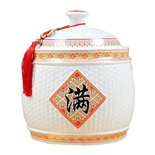Food Storage Porcelain rice cylinderkitchen storage tankSealing cap moisture-proof jarRice storage bucketPreservation Rice Ware Organization Sets