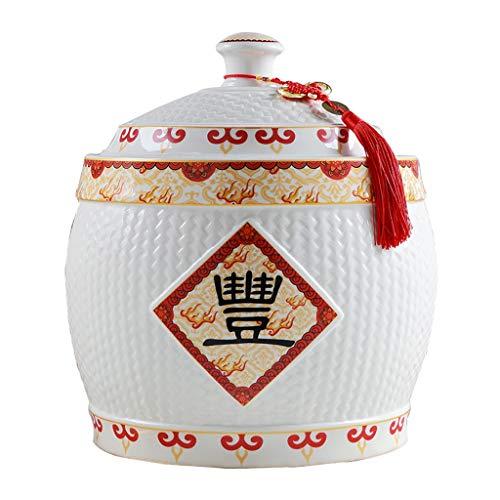 Food Storage Rice Ware Rice Storage Bucket Porcelain Rice Cylinder Kitchen Storage Tank Sealing Cap Moisture-proof Jar Organization Sets Color  Whiteredyellow Size  1624cm