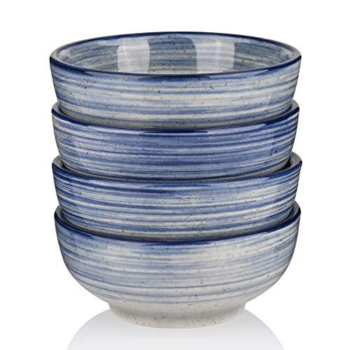 Marstrace Japanese Porcelain Rice bowls4585 Oz Small Ceramic Cereal Soup Salad Bowls Blue GraySet of 4
