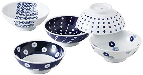 Saikai Pottery Traditional Hasami-yaki Japanese Porcelain Rice Bowls Set of 5 Bowls Made in Japan Indigo Dots L