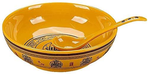 ZHA JIAN Ceramic Bowl Yellow Patterns Wealth Porcelain Rice Soup Bowl 11inch