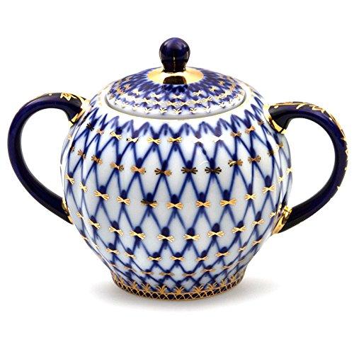 Lomonosov Porcelain Cobalt Net Sugar Bowl 22 Karat Gold 15 floz