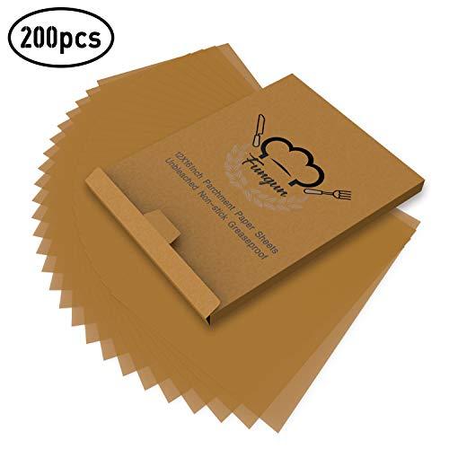 200pcs Parchment Paper Baking Sheets Fungun 12x16 Non-Stick Unbleached Precut Parchment Paper for Cook Grill Steam Pans Air Fryers Hamburger Patty Paper