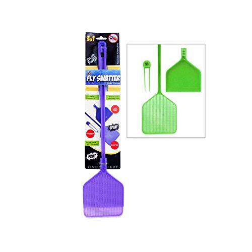 "Three-in-one Fly Swatter, Tweezers And Dustpan, 19.25"" Long, Purple"
