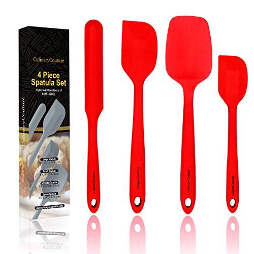 Red Silicone Spatula Set - Non Stick High Heat Resistant Kitchen Utensils - 608F - Sturdy Steel Core - Spreader Scraper Spoonula Spatulas - 4 Piece Utensil Set - Gift Box and Bonus Recipe Ebook