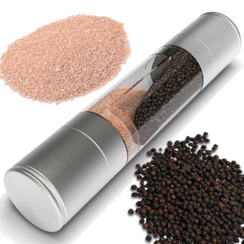 Salt And Pepper Grinder Set, 2 In 1 Stainless Steel Model Of Highest Quality. The Salt Mill And Pepper Grinder