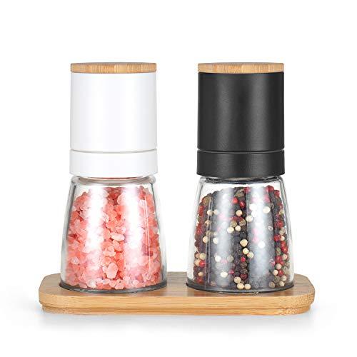 Vucchini Salt and Black Pepper Grinder SetBamboo Lid and Wood StandRefillable Sea Salt Grinder Shaker Millsblack and white