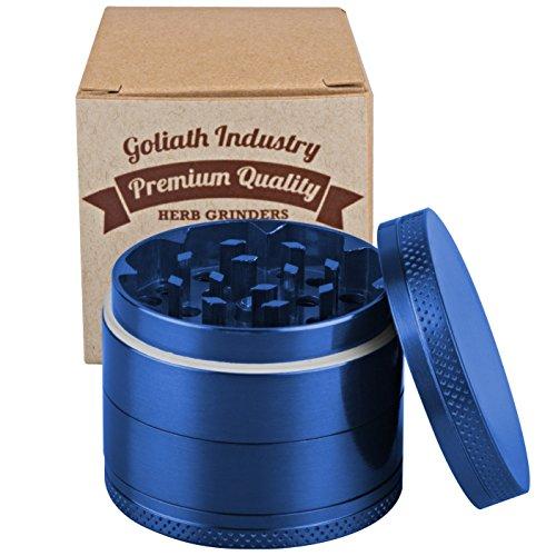 Goliath 5 Piece Titanium Spice Tobacco Weed Herb Grinder Crusher With Pollen Catcher - Premium Quality (blue)