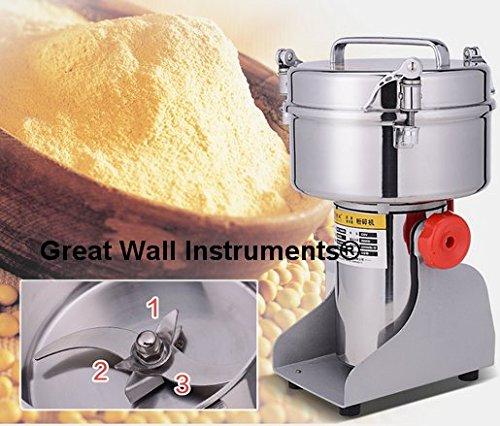 2000g Super Fine Grain Powder Machine Electric Grain Grinder Mill Cereal Herb Spice Grinder For Corn Soybean Wheat