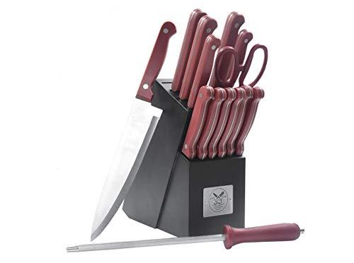 15 Piece Red Handle Knife Cutlery Block Set