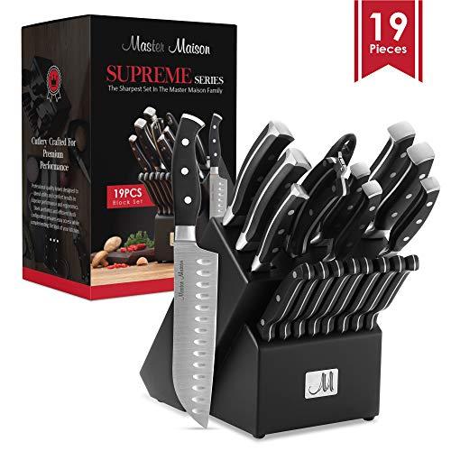 19-Piece Premium Kitchen Knife Set With Wooden Block  Master Maison German Stainless Steel Cutlery With Knife Sharpener 8 Steak Knives