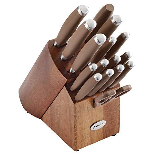 Anolon 46322 SureGrip Japanese Stainless Steel Knife Kitchen Cutlery Wooden Block Set 17 Piece Bronze Brown