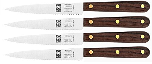 4-Inch Serrated Paring Knife Set Brown Rosewood Handle Full tang Blade 4 Set By ICEL