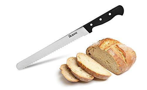 ikasu 10 inch Bread Slicer Knife  Ultra-Sharp German High Carbon Stainless Steel Serrated Edges Full Tang Blade  Durable Luxury Pakka Wood Handle