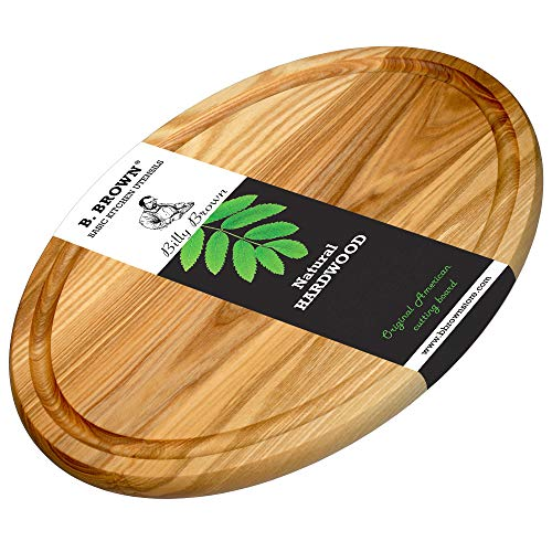 BBrown Wood MEDIUM OVAL Round Cutting Board With Juice Groove For Kitchen 135x96 inches From Natural HARDWOOD For Use As Serving tray - Board Chopping board Great for gift
