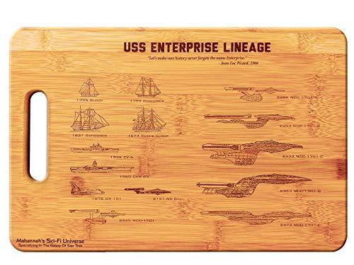 Star Trek USS Enterprise Legacy- Large Bamboo Cutting Board Wooden Cutting Boards for Kitchen Wood Cutting Board Butcher Block Chopping Board Wood Chopping Board