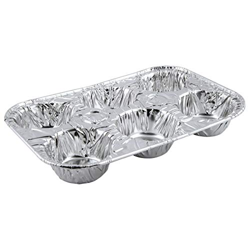 6-Cavity Aluminum Cupcake Muffin Pans  Disposable Baking Cup Cake Mold Pan  Use for Baking Mini Muffin Cupcake Cake  For Weddings Parties Birthdays Gatherings 200 Pack
