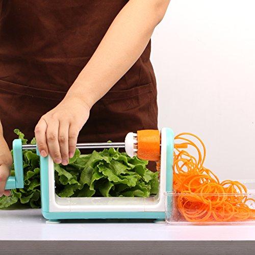Spiralizer 5-Blade Spiral Slicer Vegetable Cutter and ShredderZucchini Noodle Veggie Pasta Spaghetti Maker