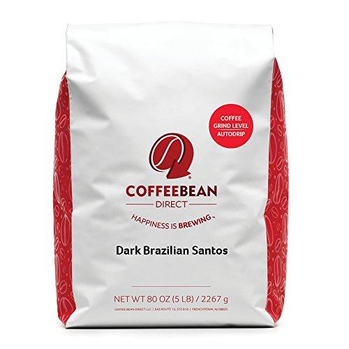 Coffee Bean Direct Dark Brazilian Santos Dark Roast Ground Coffee 5 Pound