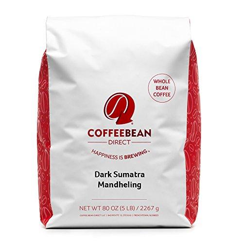 Coffee Bean Direct Dark Sumatra Mandheling Whole Bean Coffee 5-Pound Bag