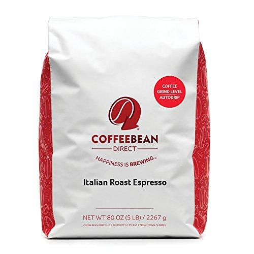 Coffee Bean Direct Italian Roast Espresso Ground Coffee 5-Pound Bag