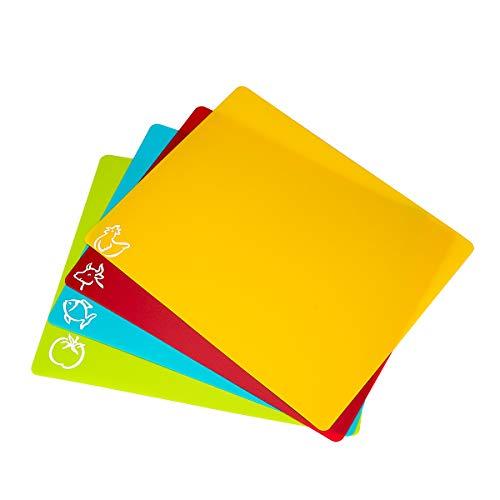 Weiye Flexible Plastic Cutting Board Mats set Colorful Kitchen Cutting Board Set of 4 Colored Mats
