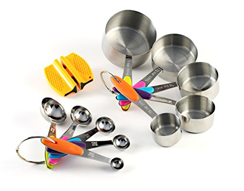Premium Stainless Steel Measuring Cups And Spoons Stackable Set, 10 Pieces With Bonus 2-step Knife Sharpener And