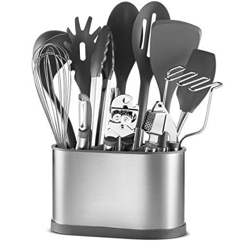 13 Piece Stainless Steel Kitchen Utensil Set Non-Stick Nylon Kitchen Tool Set - Heat Resistant Cooking Utensils with Stainless Steel Utensil Holder - Everyday Cookware Kitchen Gadgets