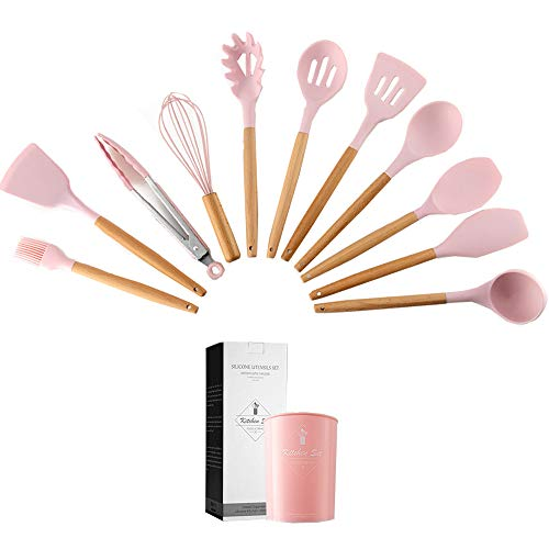 Caliamary Silicone Kitchen Utensil Set 11 Pieces Cooking Utensil with Wooden Handles Utensils Holder for Nonstick Cookware Spoons Soup Ladle Slotted Turner Whisk Tongs Brush Pasta Server